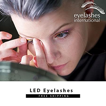 0e91fd410fb Amazon.com: LED Eyelashes Light with 7 Color Unisex Flashes Interactive  Changing LED False Lashes Shining Eyeliner Perfect for Party Bar Nightclub  Rave ...