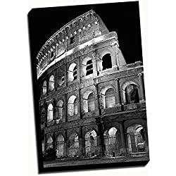 "Black & White Rome City Wall Decoration Photography Art 24x36 Stretched Onto a 1.5"" Thick Wood Frame"