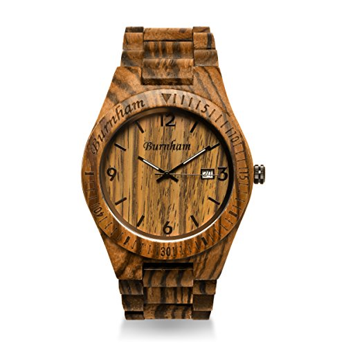 Burnham Wooden Watch - ARG001 Stylish Mens Wood Watches [Solid Natural Wood Grain] Upgraded Swiss Quartz Movement and Date [Easy set and adjust wood watch strap] Fine Crystal Face And Stainless Clasp by Burnham (Image #3)