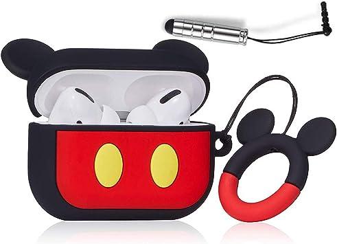 Ash-case AirPods Case Silicone Compatible con Apple AirPods Pro,[Admite Carga inalámbrica] [Estuche Protector a Prueba de Golpes] [Mosquetón] Cute 3D Cartoon Negro Mickey Disney Armor(#2)+1x Stylus: Amazon.es: Electrónica