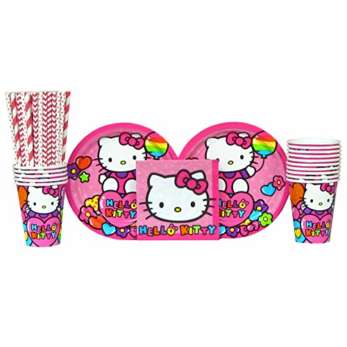 Hello Kitty Party Supplies Pack for 16 Guests Includes | Straws, Dessert Plates, Beverage Napkins, and Cups | Hello Kitty Rainbow Birthday Party Supplies | Hello Kitty Kitchen Supplies for 16 Guests]()
