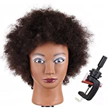"""Jiayi Afro Curly Mannequin Head 100% Human Hair for Cornrow Braiding Practice African American Cosmetology Hairdresser Manikin Training Head with Free Clamp Holder(8"""",1B)"""