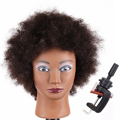 Jiayi Afro Curly Mannequin Head 100% Human Hair for Cornrow Braiding Practice African American Cosmetology Hairdresser Manikin Training Head with Free Clamp Holder(8