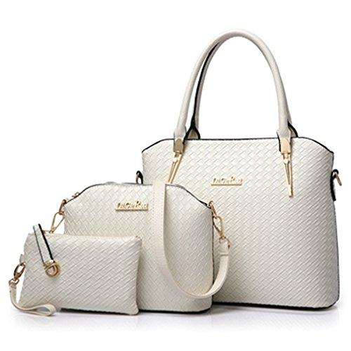 Tote grande borsa tracolla Bag capacità borsa grande bianco spalla donna pezzi 3   bd45b8
