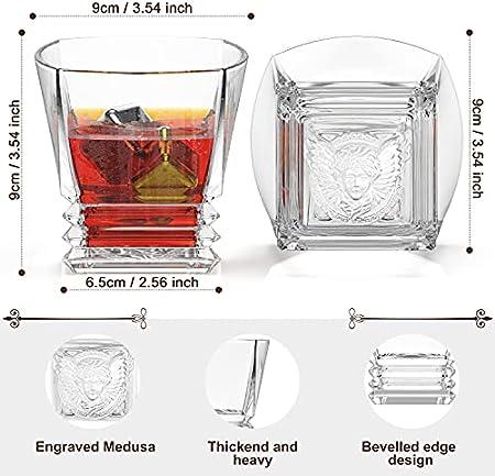 Juego de vasos de whisky Hshrish, Medusa tallada en roca, vasos de vidrio de 10 oz, 4 tazas, 4 posavasos, 8 piedras de hielo, 1 pinza, con caja de regalo de madera para hombres