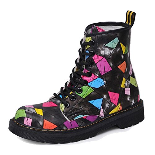 Casual Piatto In Più Peluche Boots Tacco Donne Caldo picture Stampa Pelle color Scarpe Pesante Colorato Scarpe Caviglia Short Martin wxFq8O