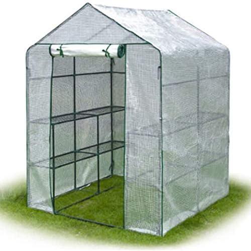 庭の温室 2つのティア8つの棚PEカバーとロールアップジッパーのドアを持つ工場グリーンハウススタンド、種子&苗を育て