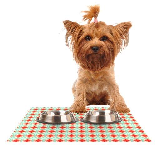 KESS InHouse Catherine McDonald Retro Circles Feeding Mat for Pet Bowl, 18 by - Dog Retro Placemat