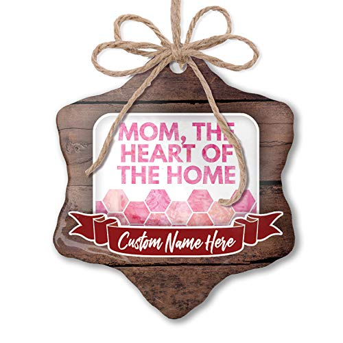 NEONBLOND Custom Family Ornament Mom, The Heart of The Home Mother's Day Watercolor Honeycomb Pink Personalized ()