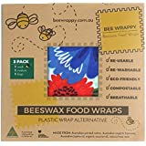 Beeswax Food Wraps 3 Pack By Bee Wrappy Washable And Reusable Alternative To Single Use Plastic Wrap/Saran Wrap. Reusable Sandwich Wrap For Reusable Lunchboxes. Container And Cover For Food. Australian Made. Contains 1 Small (17cm X 17cm), 1 Medium (30cm X 25cm) And 1 Large (34cm X 34cm)