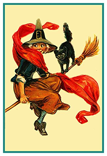 Orenco Originals Witch Black Cat Broom Halloween Counted Cross Stitch Pattern ()