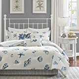 Harbor House Beach House Twin Size Bed Comforter Set - Blue, Ivory, Seashells - 3 Pieces Bedding Sets - 100% Cotton Bedroom Comforters