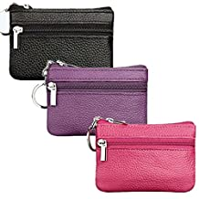 Genuine Leather Coin Purse Men Ladies Mini Zippered Cash Bag Wallet Change Holder With Key Ring(Black + Rosered + Purple)