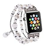 Newest Apple Watch 3/2/1 Replacement Band, Fashion Holiday Gift Beaded Bracelet, Cool Birthday Wedding Christmas Gift for Women Girls, Apple Watch Series 38mm/42mm (White - 38mm) Reviews