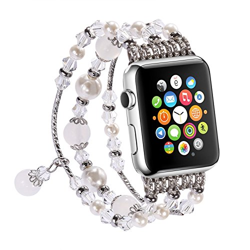 Price comparison product image Apple Watch Band,  Greatwelly Handmade Elastic Stretch Faux Pearl Bracelet Elegant Fationable Wristband for iWatch Series 1 / 2 / 3 Nike+ Hermes (42 mm / White)