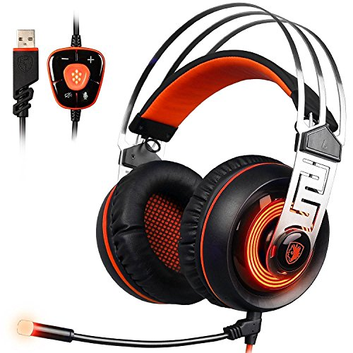Vibration Headset Gaming - Sades A7 7.1 Surround Sound Stereo Gaming Headset With USB LED MIC And Vibration Headphone For PC Black And Orange (2016 Newest Version)