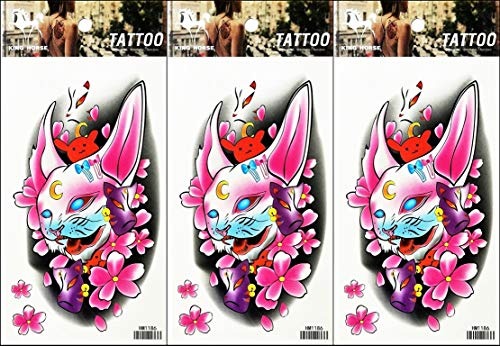 PP TATTOO 3 Sheets Temporary Tattoos Pink Sweet Halloween Ghost Devil Cat Flowers Fake Body Arm Chest Shoulder Tattoos for Men Women Boy Girls Birthday Party Art Fake Tattoo