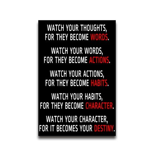 Tobe Yours Watch Your Thoughts Motivational Inspired Saying Quotes Wall Decor Sticker Poster 22x34 inch - Best Gift