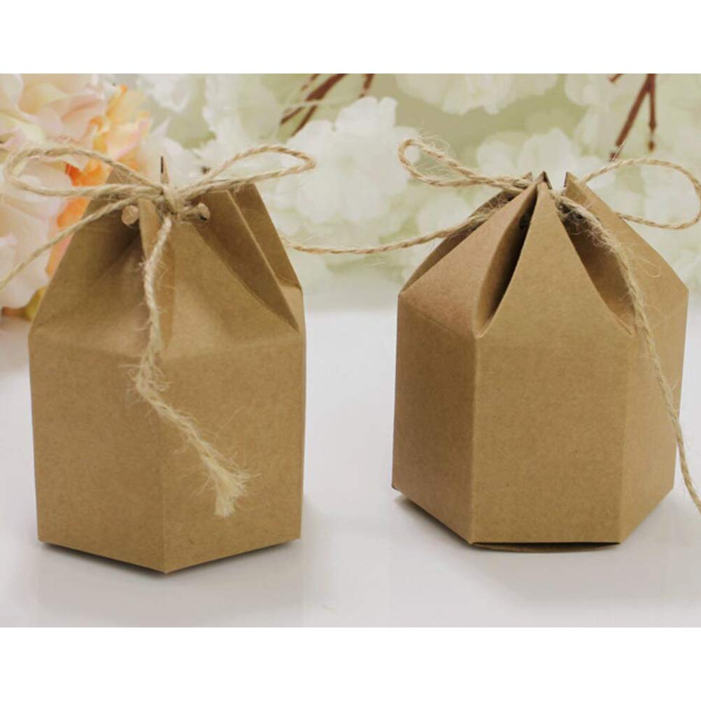 TOYANDONA 50 St/ück Kraft zugunsten Boxen Hexaeder rustikale Kraftpapier Pralinenschachtel Geschenk Aufbewahrungskoffer mit 50 St/ück Schnur f/ür Hochzeit Baby Shower Favor