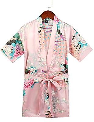 Fancyqube Kids' Satin Kimono Peacock Flower Robe Bathrobe Nightgown for Party Wedding Birthday