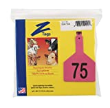 Z Tags 1-Piece Pre-Numbered Laser Print Tags for Cows, Numbers from 51 to 75, Pink