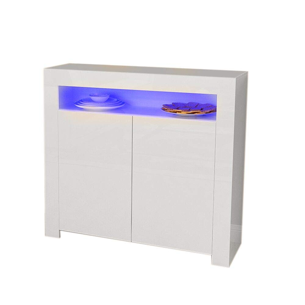 Britoniture High Gloss Front Sideboard Storage Cupboard Cabinet RGB Multicolor LED Lighting with 2 Doors and Shelves White BOCHEN
