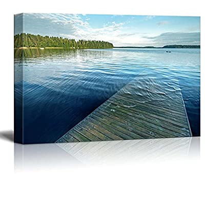 Canvas Prints Wall Art - Beautiful Scenery Old Wooden Pier Goes Under Deep Water on The Lake | Modern Home Deoration/Wall Art Giclee Printing Wrapped Canvas Art Ready to Hang - 24