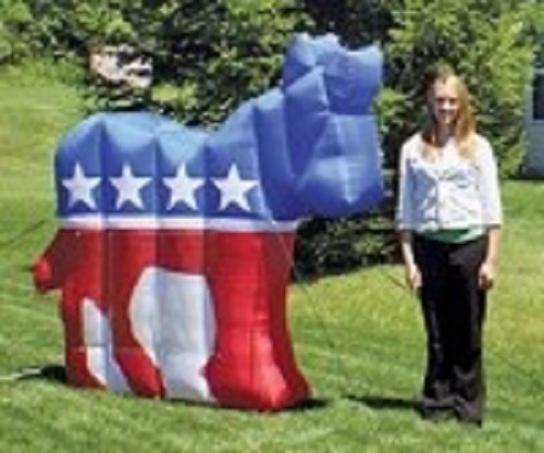 Gemmy Airblown Democratic Party Inflatable Donkey - Indoor Outdoor Campaign Decoration, 6-foot - Mississippi Stores Outlet