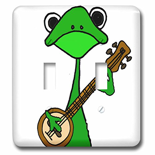 - 3dRose All Smiles Art Music - Funny Cute Green Tree Frog Playing the Banjo - Light Switch Covers - double toggle switch (lsp_255790_2)