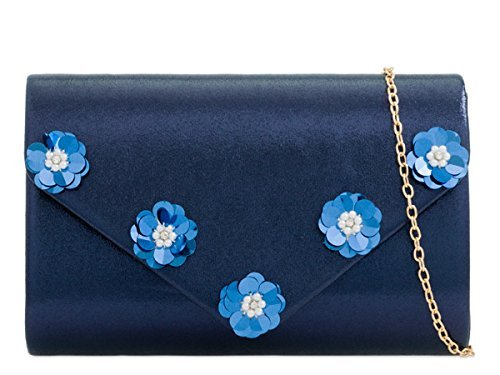 Hand Prom Clutch Blue N26 Evening Ladies Womens Occasion Metallic Bags Party Dressy Foldover 8wnU4Sq