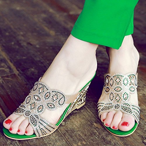 Zanpa Women Summer Mules Sandals 4#green QHCHPjmgW