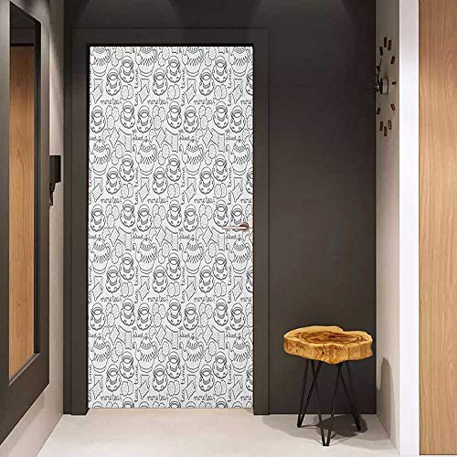 Onefzc Sticker for Door Decoration Tea Party Monochrome Style Tea Time Doodle with Pot Cups and Cookies Pattern Monochrome Door Mural Free Sticker W31 x H79 Grey White