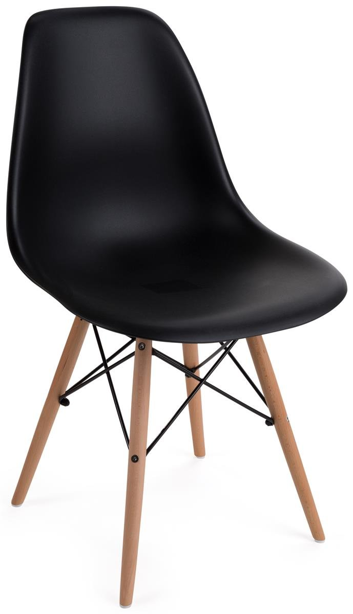 Displays2go, Modern Chairs, Metal, Plastic, and Wood Construction – Black, Natural Finish (FDC32WDBLK)