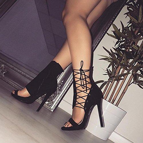 Sandali Estivi Da Donna Sexy Inkach | Tacco Sottile | Allacciatura | Cinturino Con Fibbia Nero