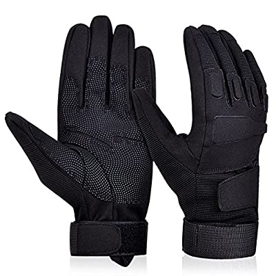 Adiew Full Finger Military Tactical Airsoft Hunting Riding Cycling Anti-Vibration Mountain Bike Slip-Proof Motorcycle Road Racing Bicycle Glove Shockproof Outdoor Sports Short Glove(Black,XLarge)