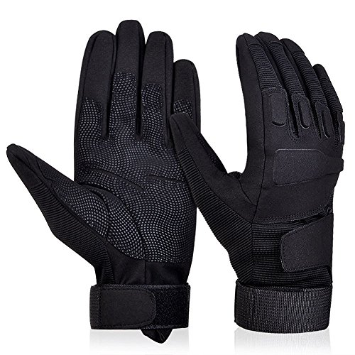 Adiew Full Finger Military Tactical Airsoft Hunting Riding Cycling Glove Anti-Vibration Mountain Bike Slip-Proof Motorcycle Road Racing Bicycle Glove Shockproof Outdoor Sports Glove(Black,Medium)