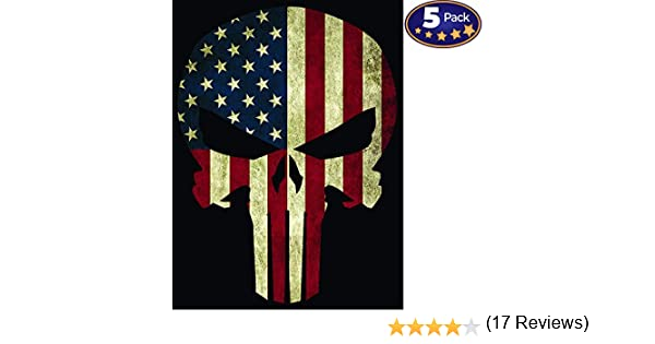 Strong Vinyl 4x6 Inch Stickers for Toolboxes Cars CarSignia Supply Made In The USA Ammo Cans American Flag Punisher Skull Bumper Sticker 5 Pack Great Gift for Hard Workers Trucks Motorcycles /& More Windows