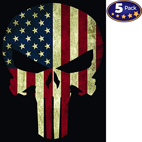 American Flag Punisher Skull Bumper Sticker 5 Pack, Made In The USA. Strong Vinyl 4x6 Inch Stickers for Toolboxes, Ammo Cans, Windows, Cars, Trucks, Motorcycles & More. Great Gift for Hard Workers.