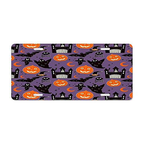 Kingsinoutdoor Midnight at The Haunted Castle Halloween Pattern License Plate High Gloss Aluminum Novelty Plate 6 X 12 Inches