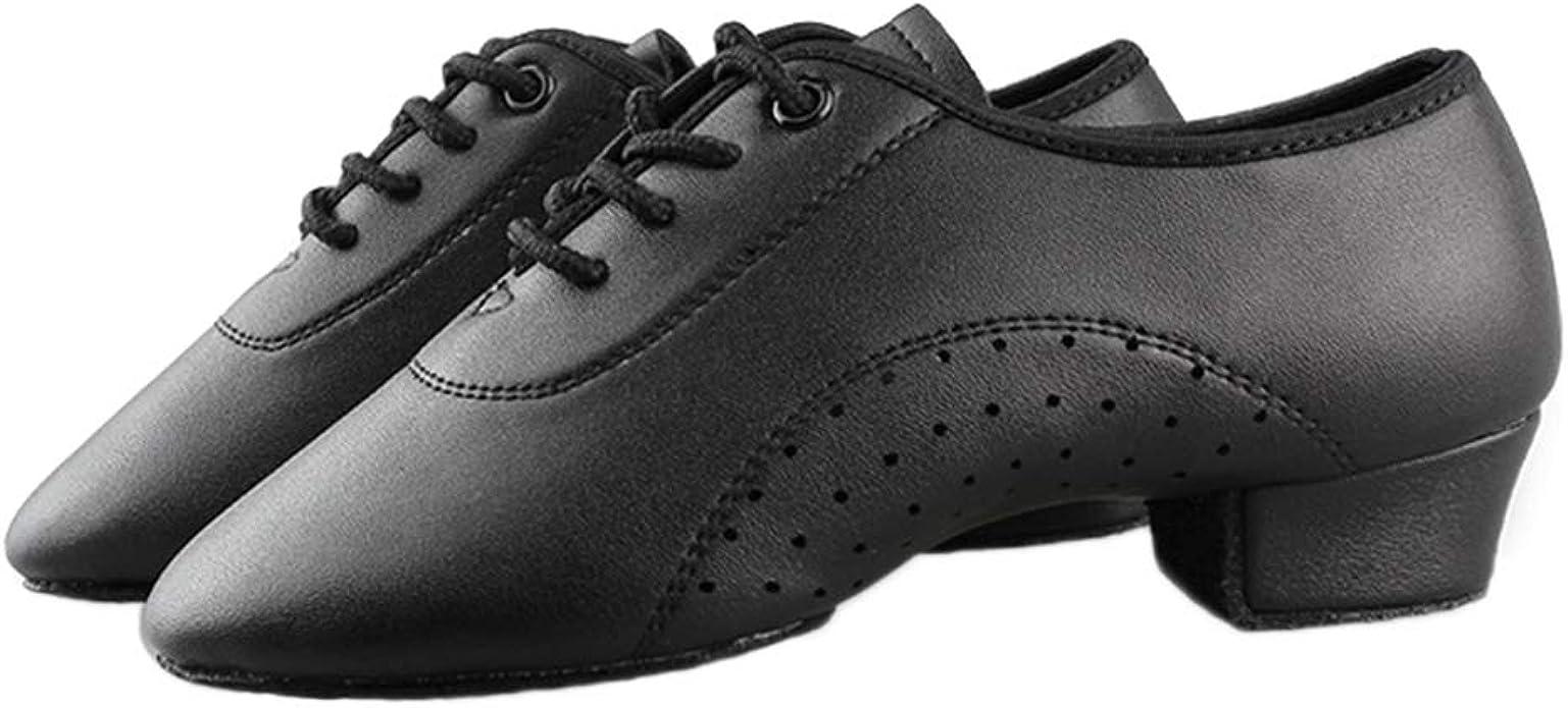 TINRYMX Boys//Men lace-up Dance Shoes Kids Ballroom Dance Practice Shoes Low Heel for Latin Tango Salsa Dance Performence Training