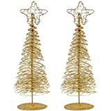 juvale pack of 2 gold christmas trees mini tree christmas miniature tabletop decoration