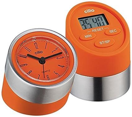 Cilio 294910 - Timer Digital con Reloj gemelli Naranja (h.nr.)