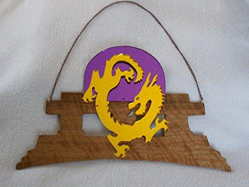 Pagoda Dragon (Dragon Pagoda Wall Hanging Wood Mirror Acrylic Oriental Yellow Purple)