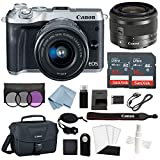 Canon EOS M6 Digital Camera (Silver) with EF-M 15–45mm f/3.5–6.3 is STM Lens + Advanced Accessory Bundle – Includes to Get Started For Sale
