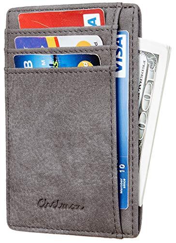 Chelmon Slim Wallet RFID Front Pocket Wallet Minimalist Secure Thin Credit Card Holder (Vinti Grey ()