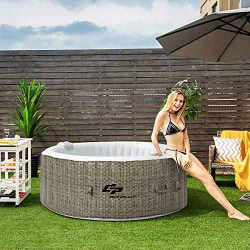 GYMAX Outdoor Spa, 4 Person Inflatable Portable Hot Tub with Accessories Set for Relaxation Hydrotherapy (Coffee)
