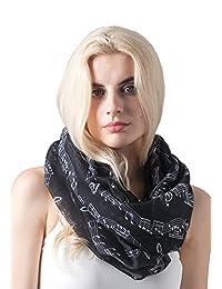 MissShorthair Women's Scarves Fashion Music Note Pattern Infinity Scarves Shawl Wraps