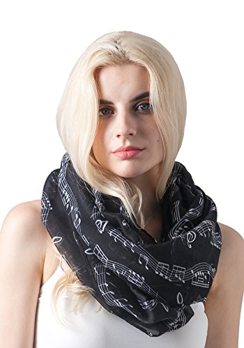 MissShorthair Women's Fashion Music Note Print Infinity Scarf Shawl (Black)