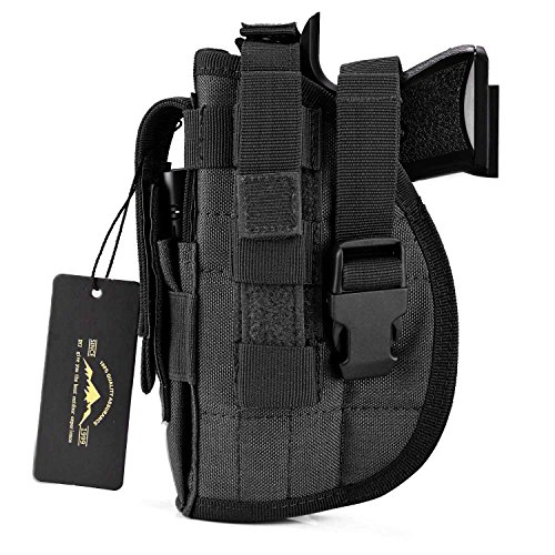 (DYJ Left Hand Tactical Pistol/Gun Holster with Magazine Pouch/Pocket for S&W M&P Shield Glock 26 27 29 30 33 42 43(Black-Left Hand))