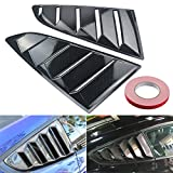 Wiipro 1/4 Quarter Side Window Louvers Scoop Vent Cover Carbon Intake Trims Sticker for Ford Mustang 2015 2016 2017 2PC Package